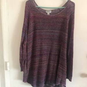 Avenue open knit size 26/26 purple multi sweater